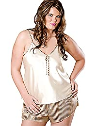 Women's Plus Size Printed Satin Camisole Tap Pant Set #99344