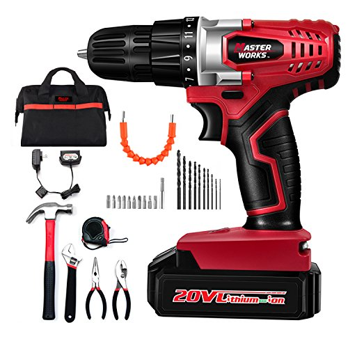 "Cordless Drill, 20V Lithium-Ion Electric Drill Driver Kit with 5-Pieces Household Hand Tool Set & 22pcs Accessories, 3/8"" Keyless Chuck, Variable Speed, 15+1 Position, LED Light, Masterworks MW316-KT by Masterworks"