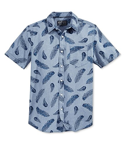 American Rag Mens Feather Button Up Shirt, Blue, Small