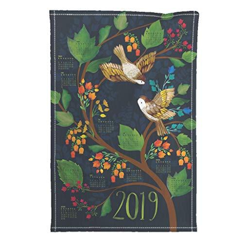 Roostery 2019 Tea Towel Calendar Birds Fat Quarter Watercolour Birdsong by Ceciliamok Special Edition Linen Cotton Tea Towel