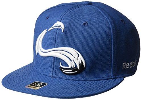 fan products of Reebok NHL Colorado Avalanche Men's SP17 Oversized Logo Flat Visor Flex Cap, Blue, Large/X-Large