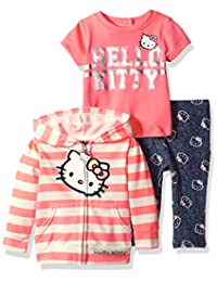 Hello Kitty girls 3 Piece Hooded Legging Set With Printed French Terry