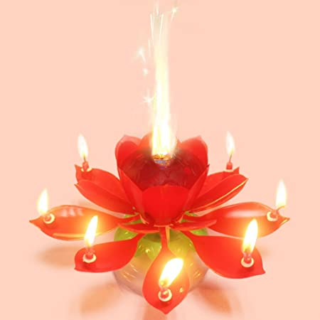 Bfun Amazing Singing Birthday Candles Flower Cake For Party Decoration