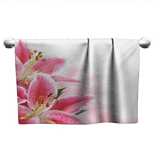(Pink and White,Boys Towel Florist Theme with Lilies Close Up A Fresh Bouquet for The Loved Ones Hotel Pool Towels Pink Orange Green W 28