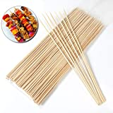 RainbowCo 25cm 9.85'' Bamboo Skewers for Cocktails - Length Thin Bamboo Wood Skewers Sticks -Bamboo Skewers for Grilling- Bamboo Skewers Lot Food Meat Sticker Christmas Party BBQ Skewers 100Pcs