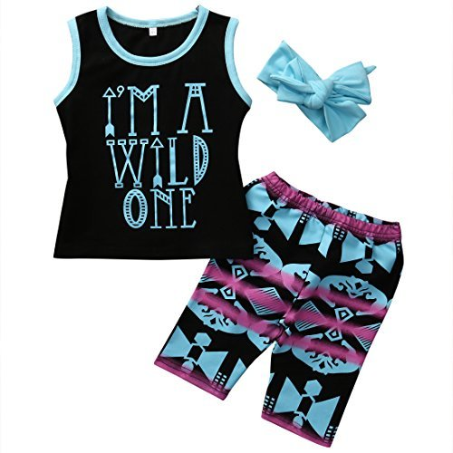 Little Kid Baby Girl Cute 3pcs Set I'M A WILD ONE T-shirt and Short Outfits with Headband (80 (2-3Y), (80 S Outfit)
