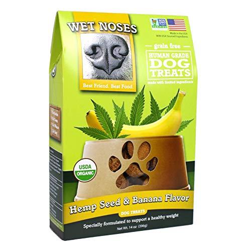 Wet Noses Organic USA Made All Natural Dog Treats, Hemp Seed & Banana, 1 pack