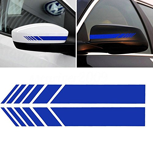 - YOUNGFLY 2pcs Car Rear View Mirror Stickers Decor DIY Car Body Sticker Side Decal Stripe Decals SUV Vinyl Graphic Dark blue
