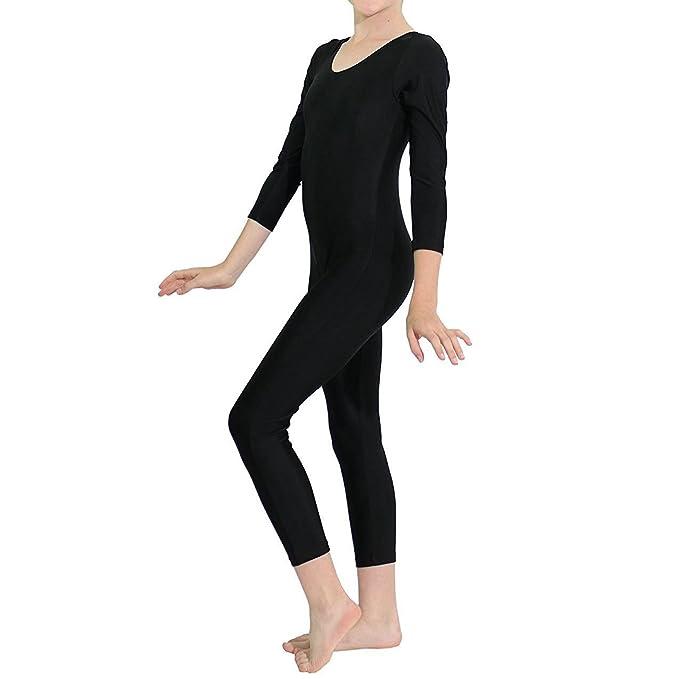 dbec0a9e9ea4 inlzdz Kids Boys Girls Full Length Unitard Solid Bodysuit Long Sleeves  Gymnastic Leotard Jumpsuit Black 5