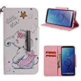 Leather Wallet Case for Samsung Galaxy S9 Plus,Shinyzone Cute Cartoon Animal Elephant Painted Pattern Flip Stand Case,Wristlet & Metal Magnetic Closure Protective Cover