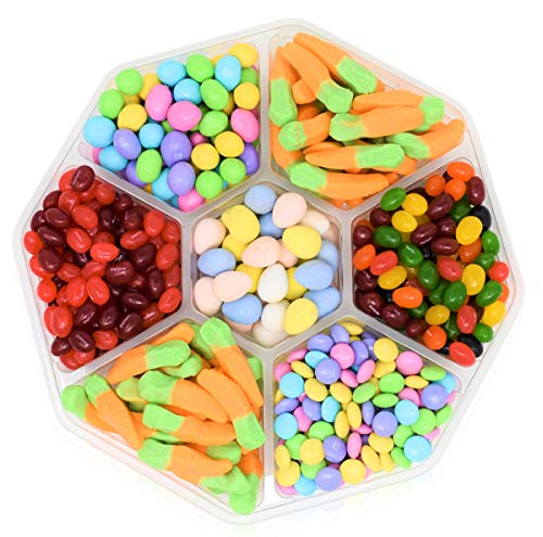 EASTER GIFT TRAY - 2 Lbs - Easter Cadbury Mini Eggs, Easter Gummy Carrots Candy, M&M's Milk Chocolate W/Peanut, M&M's Milk Chocolate Candies, Starburst Crazy Beans and Starburst Original -