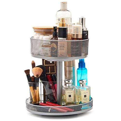 EZOWare 2-Tier Spinning Organizer, Multifunctional Tall & Deep Round Metal Mesh Deep Lazy Susan Turntable Storage Rotating Tray for Bathroom Vanity Kitchen Cabinet Countertop - Silver