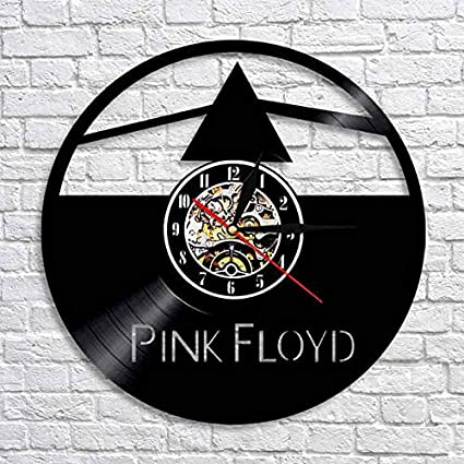 Kovides Pink Floyd Music Art Vintage Vinyl Record Clock Pink Floyd Wall  Clock Rock Music Band Minimalist Clock Birthday Gift Idea Decorations for