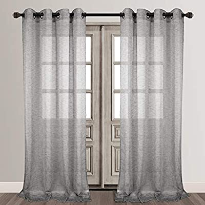 Amazon Com Voilybird Vitoria Linen Textured Semi Sheer Curtains For Bedroom Modern Style Grommet Window Curtains 84 Inches Long W54 X L84 2 Panels Grey Kitchen Dining
