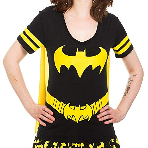 Bioworld,Dc Comics Batman Costume Licensed Graphic Juniors T-shirt w/ Cape, Black (Large)]()