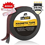 Flexible Magnetic Tape - 1 Inch x 10 Feet Magnetic Strip with Strong Self Adhesive - Ideal Magnetic Roll for Craft and DIY Projects - Sticky Magnets for Fridge and Dry Erase Board