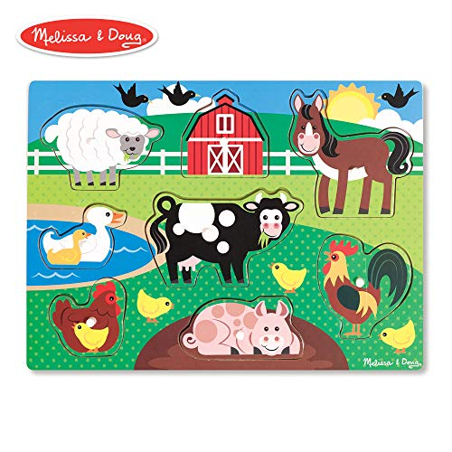 (Melissa & Doug Farm Wooden Peg Puzzle (8 Pieces))
