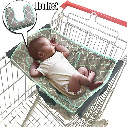 Soft Headrest Attached, Baby Shopping Cart Hammock for Newborn with Free Portable Carry Bag | Grocery Cart Hammocks Cart Covers for Infants Toddlers, Universal Fits All Shopping Carts (Grid) from Cozyin Baby