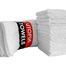 Utopia Towels Washcloths (24 Pack, 12 x 12 Inch) Pure Cotton Wash Cloth Multi-Purpose Highly Absorbent Extra Soft for Face, Hand, Gym & Spa, White