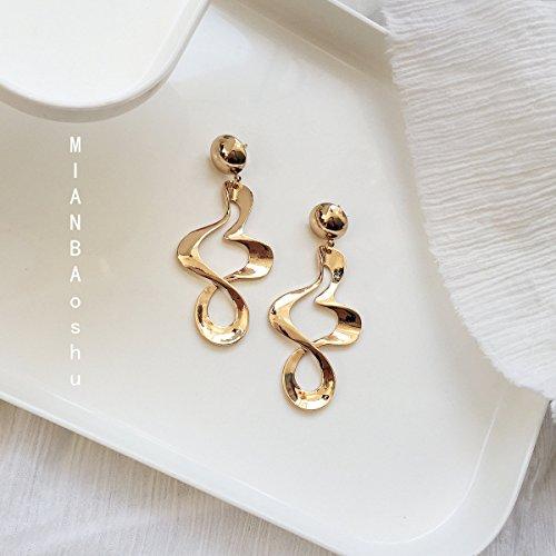 usongs metal texture twisted earrings personalized earrings exaggerated earrings women girls elegant earrings earrings