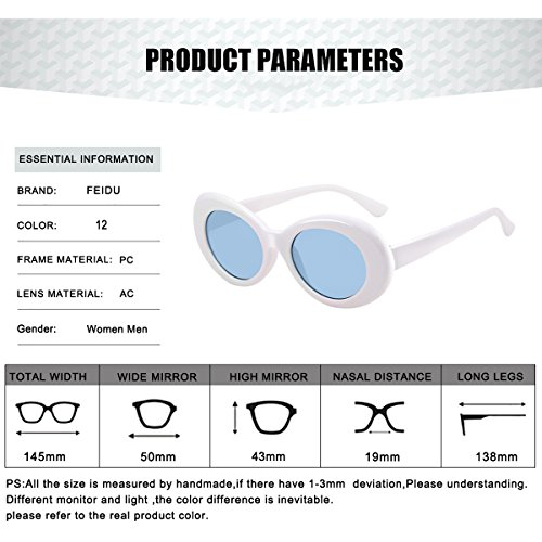 ... FEIDU Retro Oval Round Frame Sunglasses for Women Unisex FD 9013  Blue White ... 2eb831899827