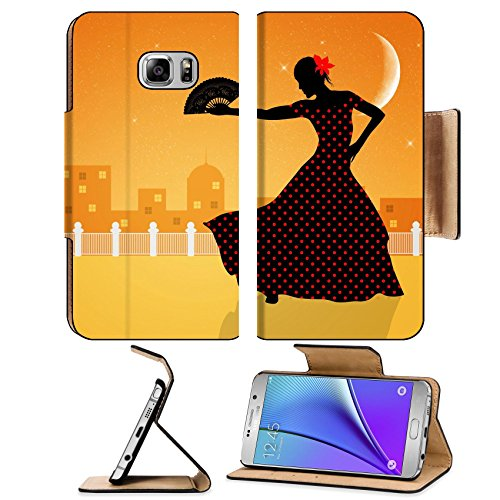 Liili Premium Samsung Galaxy Note 5 Flip Pu Leather Wallet Case Illustration of flamenco dancer Note5 Image ID ()
