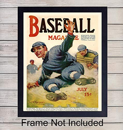 Vintage Baseball Unframed Photo Wall Art Print - Perfect Affordable Gift - Man Cave Display - Great For Home Decor - Ready to Frame (8x10)
