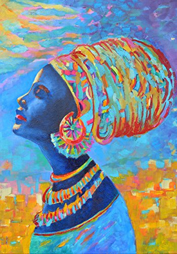 Black Woman POSTER Afro Wall decal Print A4 - A3 Africa decor art Blue yellow oil painting for room decoration