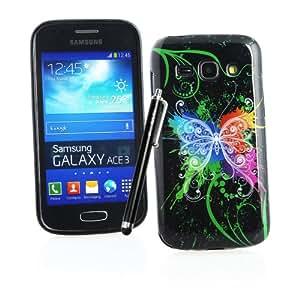 Kit Me Out ES ® Funda de Gel TPU + Lápiz óptico negro capacitivo / resistivo + Protector de pantalla con gamuza limpiadora de microfibra para Samsung Galaxy Ace 3 S7272 - Negro Mariposa grafiti