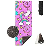 KIOT156 Cute Unicorn Kawaii for Girls Extra Thick High Density Exercise Yoga Mat with A Yoga Bag for Exercise,Yoga and Pilates.