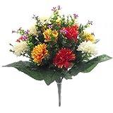 SPIKEY - Fiori artificiali,41cm, crisantemi misti Orange ,Yellow, Red & Ivory