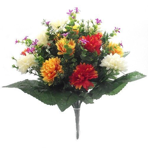 41cm Large Artificial Spikey Mum Orange Red & Cream flower bush Home Grave Wedding Bountiful Harvest