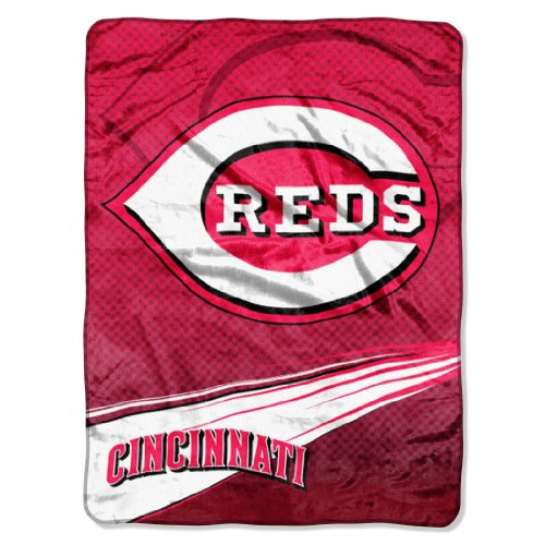 The Northwest Company MLB Cincinnati Reds Speed Plush Raschel Throw Blanket, 60x80-Inch