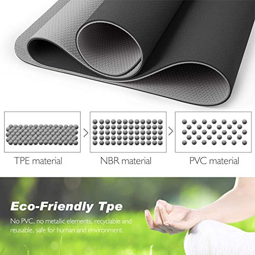 TOPLUS Yoga Mat, Non-Slip Texture Pro Yoga Mat Eco Friendly Exercise & Workout Mat with Carrying Strap - for Yoga, Pilates and Floor Exercises
