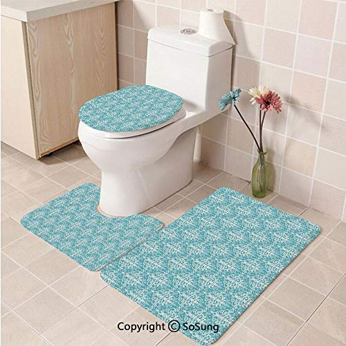 3pcs/Set Light Blue Style Soft Comfort Flannel Toilet Mat,Antique Damask Swirls Royal Victorian Renaissance Art Pattern Classy Curvy,Plush Bathroom Decor Mat with Non Slip Backing,Light Blue White