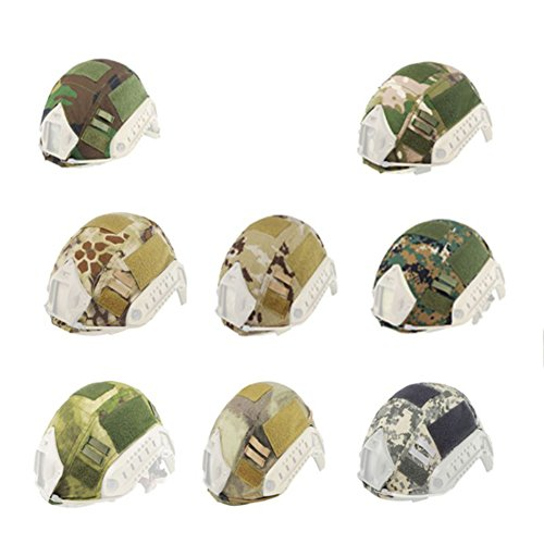 Sizet Tactical Airsoft Paintball Hunting Shooting Combat Helmet Cover for Fast Helmet Badland Camo