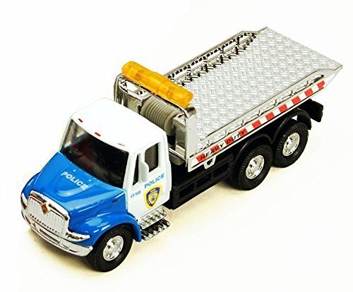 Showcasts International Police Rollback Tow Truck, Blue and White 2106BKG - 5.25 Inch Scale Diecast Model Replica, but NO - Tow Truck Police
