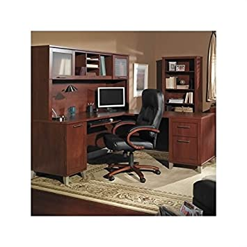 bush furniture somerset l shaped wood home office desk set in hansen cherry cherry wood home office
