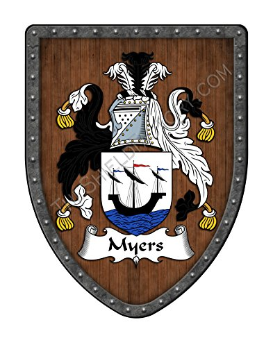 - Myers Family Crest Custom Coat of Arms, Family Ancestry and Heritage Hanging Metal Shield - Hand Made in the USA