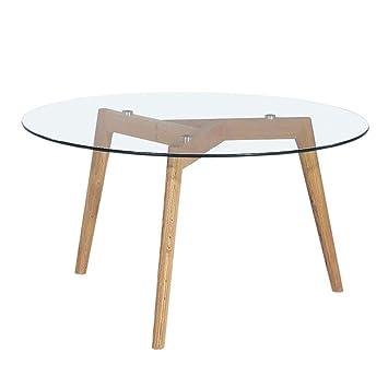 b28881f39602a Table basse ronde verre et bois Ø90cm Ingmar - Couleur - Chêne ...