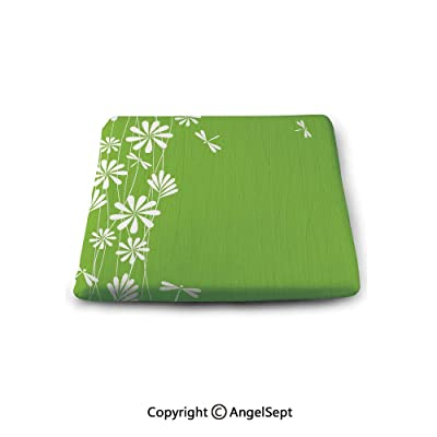 oobon Non-Slip Cushion Square Chair Pad, Dragonfly, Flower Petals Spring Motif Childish Growth Nature Seasonal Graphic Art Decorative, Lime Green White, Indoor Outdoor Chair Cushions : Garden & Outdoor