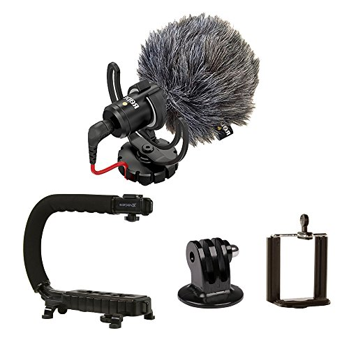 Scorpion Jr. + Rode VideoMicro BUNDLE – Compact On-Camera Microphone with Ryocote Lyre Shock Mount + Camera Handle Support