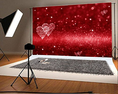 Laeacco 7x5FT Vinyl Backdrop Red Glitter Background Photography Red Hearts Space Love Theme Shiny Sparkling Bokeh Effect Backdrop Valentine's Day Blackboard Photo Backdrop Studio Prop