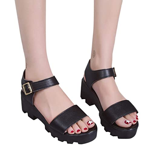 22a0a2122ffe Women's Wedge Platform Sandals with Arch Support Ankle Strap Open Toe Pumps  Classic Flat Shoes for