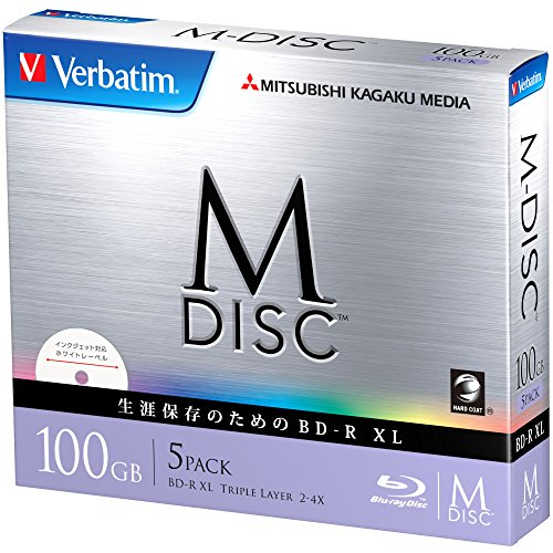 1000 Years Archival Verbatim M-Disc BDXL Inkjet Printable | 100GB 4x Speed | 5 Pack Jewel Case