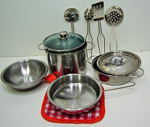 10-piece Playset Metal Pots and Pans Kitchen Cookware for Kids with Cooking Utensils Set (Metal Pots And Pans Playset compare prices)