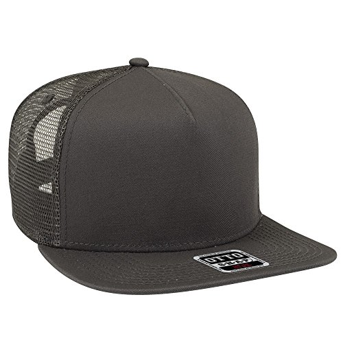 Mesh Back 5 Panel (Otto Square Flat Visor Otto Snap 5 Panel Mesh Back Trucker Snapback Hat - Char. Gray)