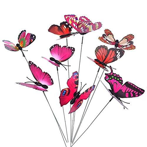 Garden Suncatcher Butterfly - Miniature Ornaments,Govine 28pcs Butterfly Garden Ornaments Supplies for Garden Yard Planter Colorful Whimsical Butterfly Stakes Random Color