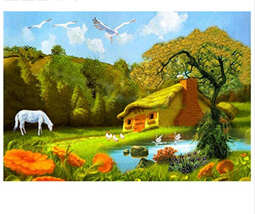 Jigsaw Puzzle 1000 Piece Beautiful Mountian Hut Horse Lake Hand Classic Puzzle 3D Puzzle DIY Kit Wooden Toy Unique Gift Home ()