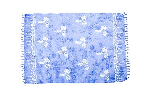 manumar Mujer sarong | pareo Toalla de playa | ligero de wickel–Toalla con flecos borlas hell-azul Muschel largo